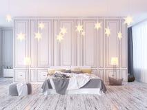 Moquerie vers le haut d'affiche avec le fond intérieur de hippie de vintage de grenier en pastel de minimalisme, 3D rendu, illust Illustration Stock
