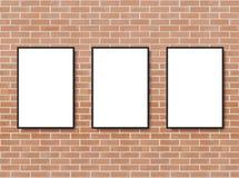 Moquerie vers le haut d'affiche avec le fond d'int?rieur de grenier Vue sur le mur Maquette de Photoframe Mur de briques Calibre  illustration stock