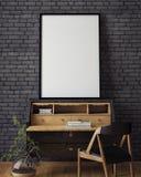 Moquerie vers le haut d'affiche avec le fond intérieur de grenier de hippie de vintage, Photos libres de droits