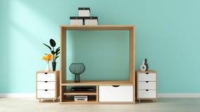 Moquerie vers le haut de conception d'armoire de TV avec le mur de briques en bon état sur le plancher en bois blanc rendu 3d illustration libre de droits