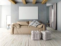 Moquerie vers le haut de mur dans l'intérieur avec le sofa style de hippie de salon Images libres de droits