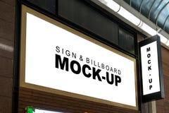 Moquerie vers le haut de panneau d'affichage de caisson lumineux du bâtiment Images libres de droits