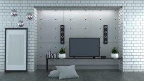 Moquerie vers le haut de TV sur le fond blanc de mur de briques de style de grenier rendu 3d illustration de vecteur