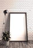Moquerie vers le haut de vue et de lampe sur le mur de briques rendu 3d illustration stock