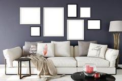Moquerie vers le haut des affiches dans l'intérieur de salon Style scandinave intérieur 3D rendu, illustration 3D illustration libre de droits