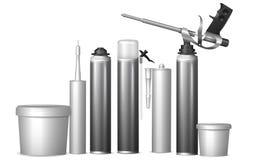 Moquerie vers le haut des bouteilles de calibre avec des matériaux de construction Illust de vecteur Photographie stock