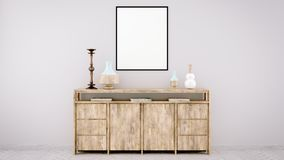 moquerie verticale d'affiche avec le cadre en bois sur le mur dans l'intérieur de salon rendu 3d illustration de vecteur