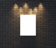 Moquerie vide lumineuse de cadre sur le mur de briques foncé illustrat 3d Photo stock