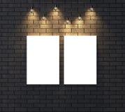 Moquerie vide lumineuse de cadre sur le mur de briques foncé illustrat 3d Photographie stock libre de droits