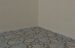 Moquette, carpet, carpeting close up, project under construction with white wallpaper and baseboard. S stock images
