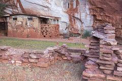 Moqui Cave Anasazi Hopi Tribe Ruins near Kanab Utah. Moqui Moki Cave Shelter and Food Store Archeology Ruins in Sandstone Cliffs near Kanab Utah, once used by Royalty Free Stock Photo