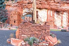 Moqui Cave Anasazi Hopi Tribe Ruins near Kanab Utah. Moqui Moki Cave Shelter and Food Store Archeology Ruins in Sandstone Cliffs near Kanab Utah, once used by Stock Photo
