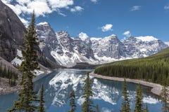 Morän sjö i Jasper National Park, Kanada Royaltyfri Foto