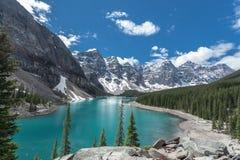 Morän sjö i Jasper National Park, Kanada arkivfoto