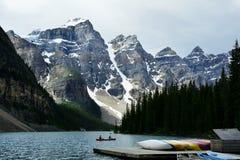 Morän sjö, Lake Louise, Alberta, Kanada Arkivbild