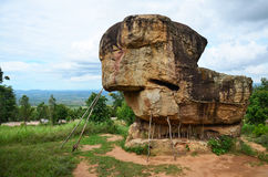 Mor Hin Khao, or Thai Stonehenge in the Phu Laenkha National Par. K with Stormy Clouds considered as a beautiful viewpoint located in Chaiyaphum , Thailand stock photo