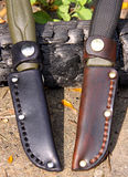 Mora Clipper 860 and 510 MG knives. Home-made bushcraft leather sheaths for Mora Clipper 860 and 510 MG knives stock images