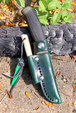 Mora Clipper 860 knife. Home-made bushcraft leather sheath for Mora Clipper 860 knife stock photos