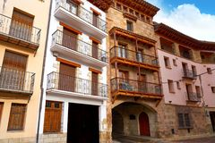 Mora de Rubielos-Dorf in Teruel Spanien stockbild