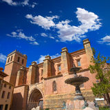 Mora de Rubielos Teruel church with fountain Spain Royalty Free Stock Images