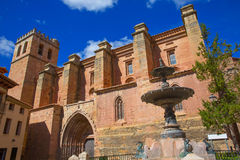 Mora de Rubielos Teruel church with fountain Spain Royalty Free Stock Image