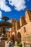 Mora de Rubielos Teruel church with fountain Spain Stock Image