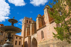 Mora de Rubielos Teruel church with fountain Spain Stock Photography