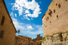 Mora de Rubielos Teruel Muslim Castle in Aragon Spain. Under blue sunny sky Stock Photos
