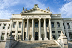 Mora Museum in Szeged. Classicist building in Szeged and the blue sky stock image
