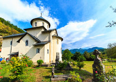 Moraca Monastery, a Serbian Orthodox church in Kolasin, Montenegro. Ancient religious building and graveyard Stock Images