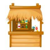 Moradia de madeira confortável na praia, bungalow do cobrir com sapêtelhado ilustração royalty free