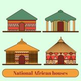 Moradias nacionais Casas e cabanas em uma vila africana Linha estilo lisa Ilustra??o ilustração stock