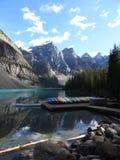 Moraine湖班夫亚伯大加拿大 免版税图库摄影