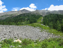 Moraine in the Altai Mountains Royalty Free Stock Photos