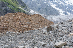 Moraine debris in the Caucasus. Moraine debris. The Caucasian Mountains. Chalaadi glacier, 10 km away from Mestia Svaneti, Georgia Stock Photos