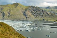 Moraine del ghiacciaio di Skaftafellsjokull Immagini Stock