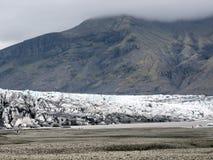 Moraine 2017 del ghiacciaio del parco nazionale dell'Islanda Skaftafell Fotografia Stock