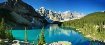 Moraine del lago, parco nazionale di Banff Fotografia Stock Libera da Diritti