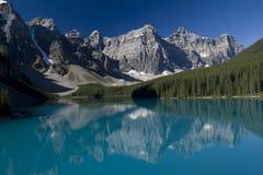 Moraine del lago park nazionale del Banff Fotografia Stock