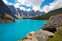 Moraine Lake. Beautiful Moraine Lake in the Valley of the Ten Peaks in Banff National Park, Canadian Rockies Royalty Free Stock Photo