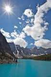 Moraine Lake. Beautiful Moraine Lake in the Valley of the Ten Peaks in Banff National Park, Canadian Rockies Royalty Free Stock Photography