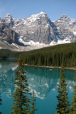 Moraine Lake. Reflections of the Ten Peaks in Moraine Lake in the Canadian Rockies Royalty Free Stock Photography