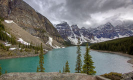Moraine Lake, Banff. Scenic Moraine Lake of Banff seen under cloudy skies Royalty Free Stock Photos