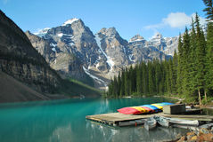 Moraine Lake, Banff, Alberta. The Moraine Lake in Banff is a major attraction Royalty Free Stock Photo