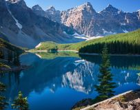 Moraine Lake Banff Alberta. Moraine lake is a glaciated lake in Banff, Alberta Canada Stock Photography