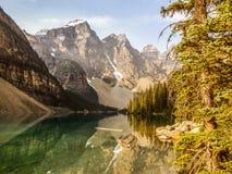 Moraine Lake Banff, Canada. Moraine Lake alone Icefields Parkway, Banff, Canada royalty free stock image