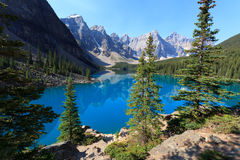 Moraine Lake. In the Banff national park in Alberta Canada Royalty Free Stock Photo