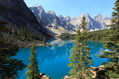 Moraine Lake. In the Banff national park in Alberta Canada Royalty Free Stock Image