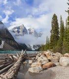 Moraine Lake, Banff National Park, Alberta, Canada. Moraine Lake, a glacially-fed lake in Banff National Park, Alberta, Canada, situated in the Valley of the Ten Royalty Free Stock Images