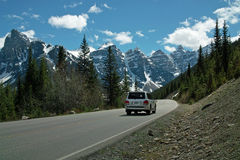 Moraine Lake, Banff National Park, Alberta, Canada. Road to Moraine Lake in the Valley of the Ten Peaks, Banff National Park, Alberta, Canada Royalty Free Stock Photos